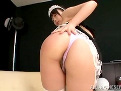 Slutty Japanese chick in maid costume
