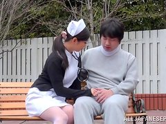 Kinky nurse is curing her patient outdoors