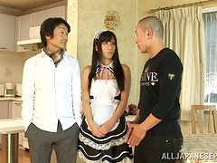 Obedient Japanese maid Yuuki Itano blows and gets cum on her face