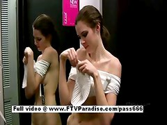 Awesome girl Isobel brunette teen trying clothes and public posing