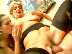 Granny and her daughter are sharing a big cock