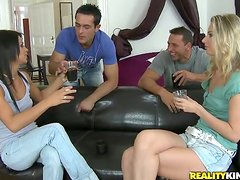 Two filthy chicks are naked with two hungry studs