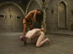 Kinky Lucy Lee ties up some pale guy and tortures him