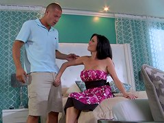 Dark-haired enchantress gives her lover a great blowjob in 69 position