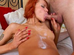 Nice blowjob from ginger hot and sexy babe to her friend