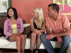 Salacious babes with slim bodies take part in threesome