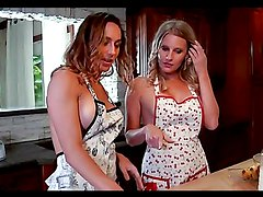 Hot milfs have some lesbian fun in the kitchen
