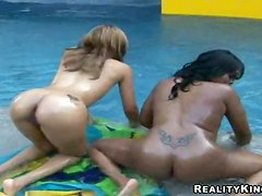 Brown Sugar and her GF share a dick after licking each other's vags