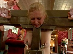 Horny chicks get fucked and tied up at the brunch