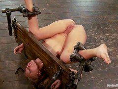 Device bondage, ass spanking and pussy penetration all for Katie