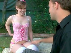 Passionate sex at the backyard with well stacked pale bodied teen
