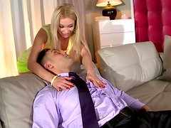 Cute blondy Lindsey Olsen gives head before riding hard dick on top. FFM