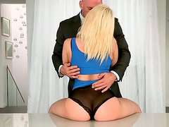 Hell seductive blonde MILF Anikka is getting her ass licked from behind