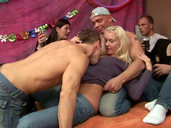 Sex-starved blonde harlot gets fucked hard in threesome