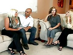 Horny milfs share a big cock in a foursome