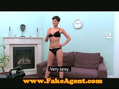 Short-haired girl poses in lingerie and rides a dick at a casting