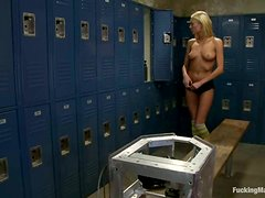 Victoria White Masturbates and Gets Fucked by Machine in Locker Room