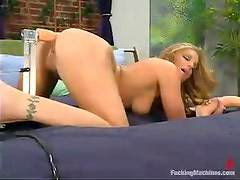 Jackie Moore gets her vag banged in many positions by a fucking machine