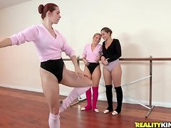 Three ballet dancers are rehearsing naked