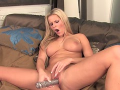 Busty blonde Sandra gets naked and starts hot game with a dildo