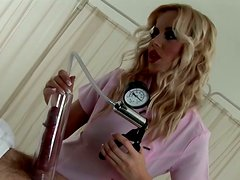 Incredibly seductive blonde nurse pumps penis with special tool