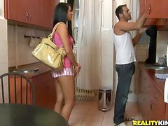 Sizzling Melissa Ria sucks expertly and rides big dick