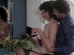 Vintage hairy pussy licking scene with sexy brunette in stockings