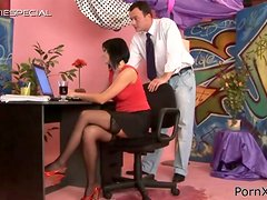 Office Whore Renata Black Fucking and Pissing in Messy Action Vid