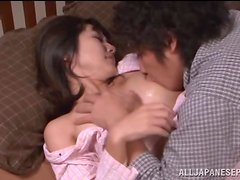 Asian brunette babe enjoys being nailed hard by her man.