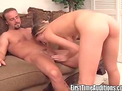 Denise gives a deep-throat blowjob to a horny stud.