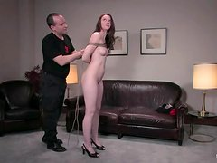 Gorgeous redhead chick Amber Keen is casted for BDSM