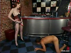 Kendra James fucks Sebastian's ass after attaching clothespegs to his cock