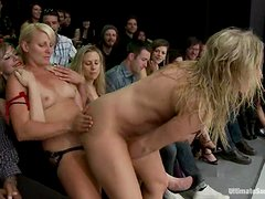 Horny blonde girls lick and toy their pussies in public