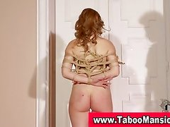 Watch this hot blonde hoe get dominated and tied up
