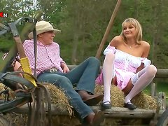 Blonde Mother Loves Anal Penetration Outdoors in the Farm