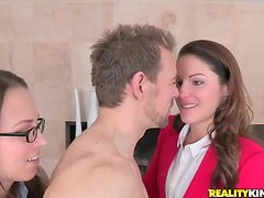 Hot brunettes haver fun with horny dude in this FFM video.