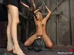 Severe Toying for Blonde Girl in Lesbian Bondage and Domination Vid
