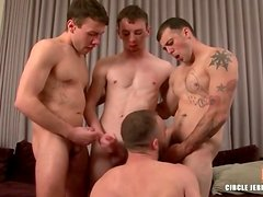 Three gay boys blown by a sexy bottom