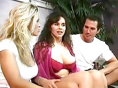 Papa - 2 babes with nice tits bang lucky guy