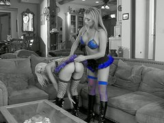 Two Adorable Blondes In High Heels And Stocking Get Threesome