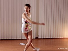 Flexible Skinny Teen Stretches and Exercises Naked