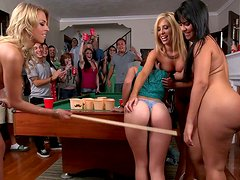 Topless chicks are playing billiard and riding big dildos
