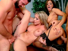 Orgy with two slutty and super horny babes with their nice titties