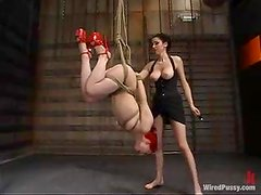 Sabrina Sparx Slut with Red Hair Strapon Fucked and Toyed in Bondage Vid