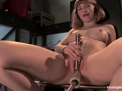 Astrid plays with a fucking machine and gets many orgasms
