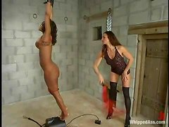 Kym Wilde whips Sinnamon Love and makes her ride a fucking machine