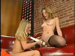 Jade Marxxx and Jasmine use a fucking machine while making lesbian love