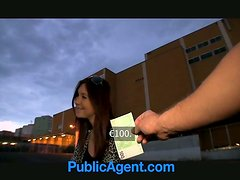 Smoking hot brunette gets some money for blowjob and doggy style
