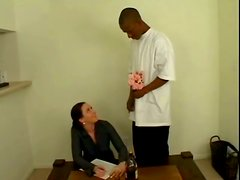 Sasha the hot office chick rides big black cock and gets a mouthful
