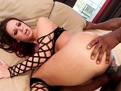 Fat black cock penetrates white soaking pussy of one brunette in body fishnets